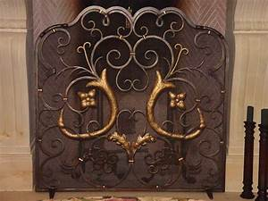 Hand crafted custom french design wrought iron fireplace for Custom wrought iron fireplace screens