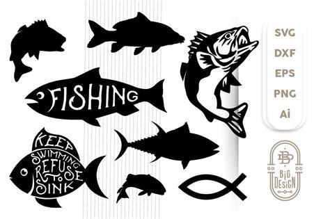 svg fish bundle fish svg cut files fish silhouette
