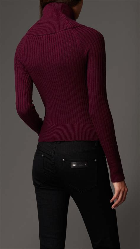 burberry sweater burberry cable knit polo neck sweater in lyst