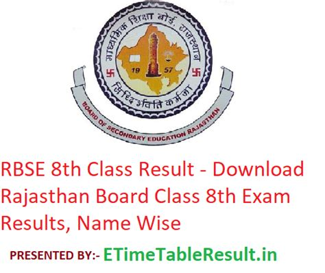 rbse 8th class result 2019 rajasthan board class 8 results name wise