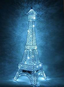 silver metal paris eiffel tower france led crystal With silver diamante floor lamp