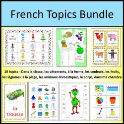 french vocabulary topics bundle classroom clothing