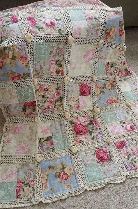 shabby chic crochet blanket pattern crochet and fabric quilt crochet shabby and patchwork