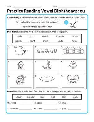 practice reading vowel diphthongs ou worksheet