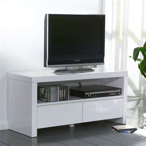 white meuble tv avec 2 tiroirs laque blanc brillant