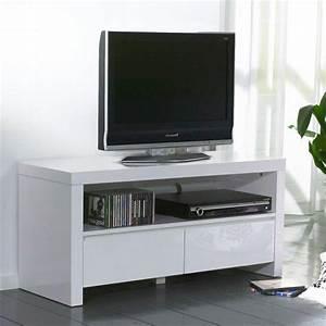 Meuble Tv Blanc Laqué : white meuble tv avec 2 tiroirs laque blanc brillant ~ Teatrodelosmanantiales.com Idées de Décoration