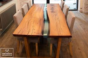 Wood dining table Wood epoxy table Table with live edge