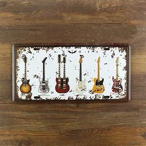 guitar decoration vintage metal license plate bar wall With bar wall decor