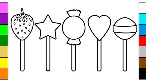Many Colorful Lollipop Coloring Pages For Baby