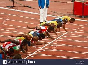 Start of Men's 100 meter sprint race where Usain Bolt sets ...