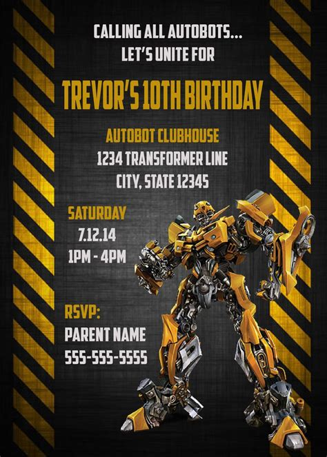 transformers bumblebee digital birthday invitation
