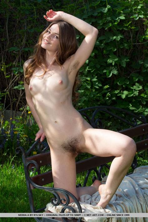 brunette girl nedda a gets naked and shows you her hairy pussy outside coed cherry