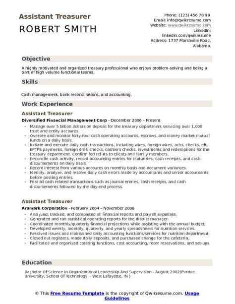 assistant treasurer resume sles qwikresume