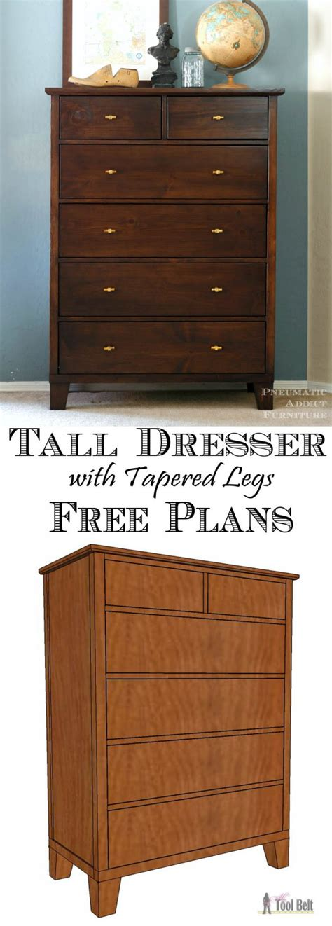 tall dresser  tapered legs  tool belt