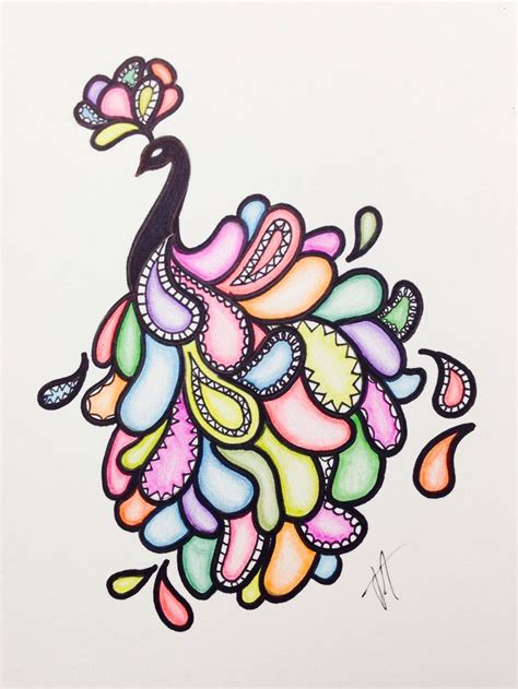 colorful things to draw easy peacock drawing with sharpie and colored pencils