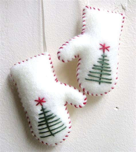 mittens christmas ornament  white felt handmade