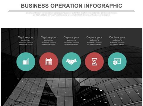 staged business operation infographics flat