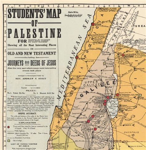 map  israel palestine jesus  middle east