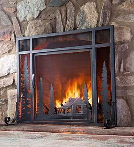 Large, Mountain, Cabin, Fire, Screen, With, Door