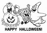 Spongebob Coloring Halloween Printable Sheets Squarepants Ecolorings sketch template