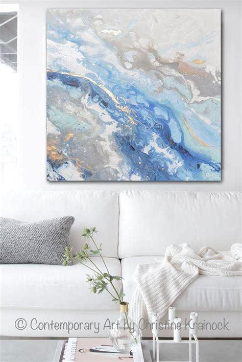 original art modern blue white abstract painting marbled