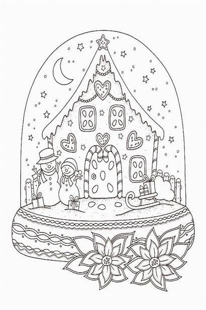 Coloring Snow Globe Sheet Drawing Sheets Printable