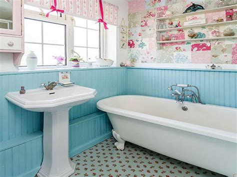 Bloombety  Blue Wood Panel Country Bathroom Ideas Country
