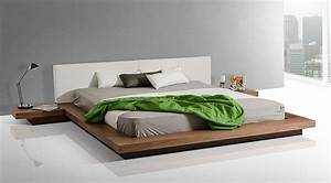 Modrest Opal Modern Low Profile Walnut Platform Bed