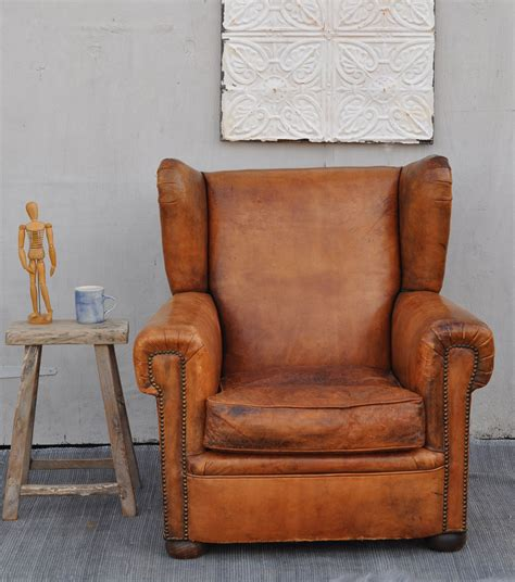 vintage arm chair antique leather wing back club arm chair home 3159