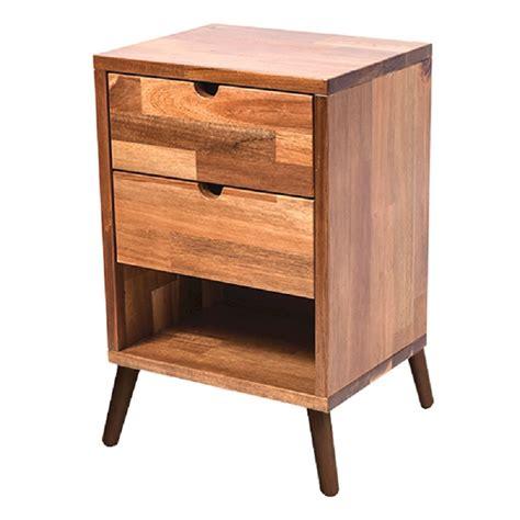 domo acacia wood bedside table drawers natural