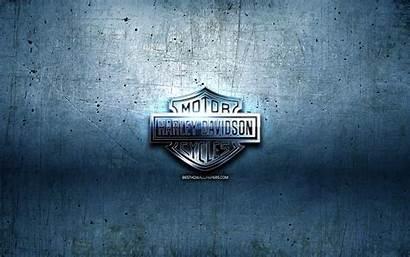 Harley Davidson 3d Metall Blau Hintergrund