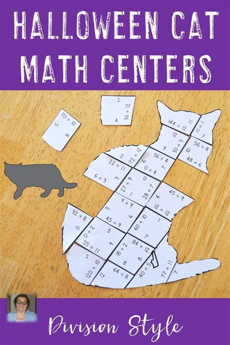 division cat puzzles halloween math worksheet