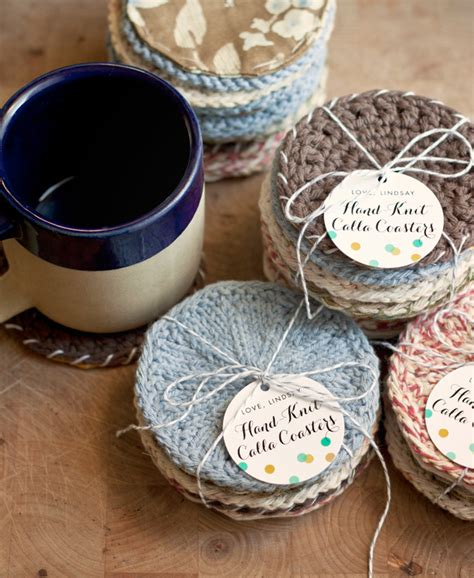 handmade gift idea knitted coasters party inspiration