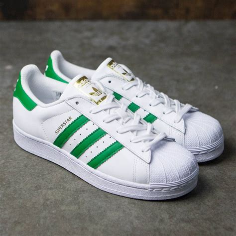 adidas big kids superstar foundation  white green gold
