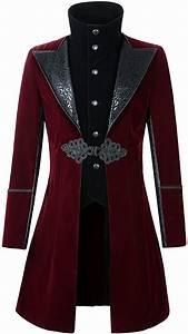 Darcchic Mens Velvet Gothic Leather Lapel Trench Coat