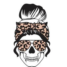 ***please be sure to have the correct software for opening and using these file types*** Leopard Mom life Skull svg Messy bun skull svg Mom life ...