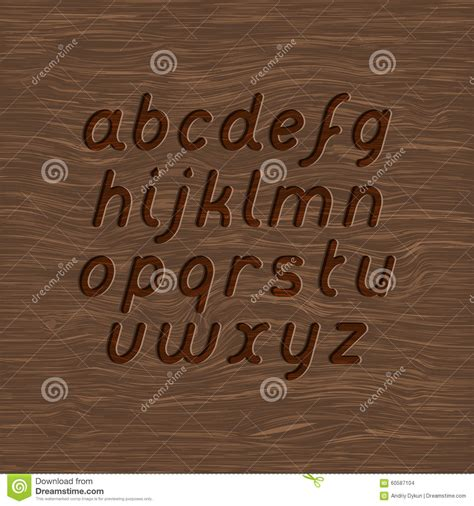 wood carved font stock vector illustration  tree