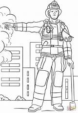 Firefighter Coloring Printable Fire Template Professions Department Female Firefighters Drawing Dot Templates Paper sketch template