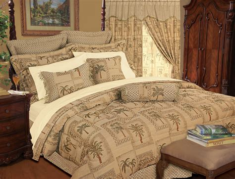 9 piece tapestry palm bedding comforter set
