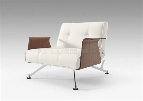 white leatherette modern club chair w walnut arms