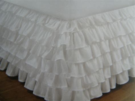 shabby chic bed skirts shabby cottage beach chic romantic white layers bed skirt queen size ebay