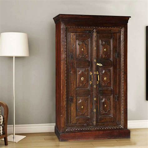 Wood Armoire by Surfside Handcrafted Metal Accent Mango Wood Armoire