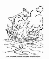 Coloring Ship Pirate Sea Sunken Pirates Caribbean Map Burn Karibik Ausmalbilder Fluch Konabeun Bajak Mewarna Buku Laut Bluebonkers Burned Popular sketch template