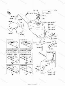 Kawasaki Motorcycle 2001 Oem Parts Diagram For Fuel Tank