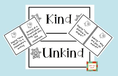 kindness cards freebie  kind unkind sort