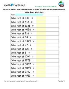cube root worksheet 6th 8th grade worksheet lesson planet