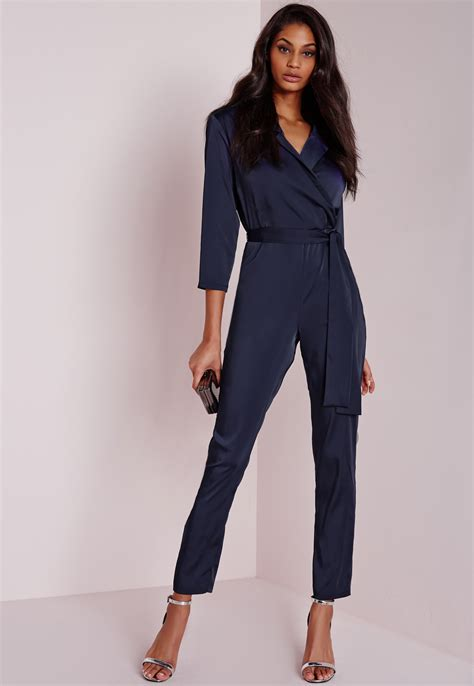 blue jumpsuit missguided silky wrap shirt jumpsuit navy in blue lyst