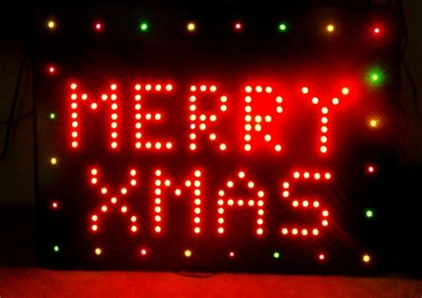 32 inch red and green led merry christmas sign wish you a merry