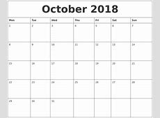 October 2018 Blank Monthly Calendar Template