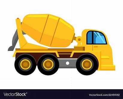 Cement Mixer Truck Concrete Yellow Vector Vehicle
